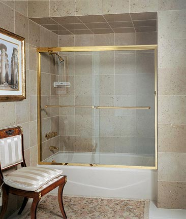 CT-5 Tub Enclosure with Optional Flat Header, Gold Anodized Aluminum, Clear Glass, Traditional Towel Bar Upgrade