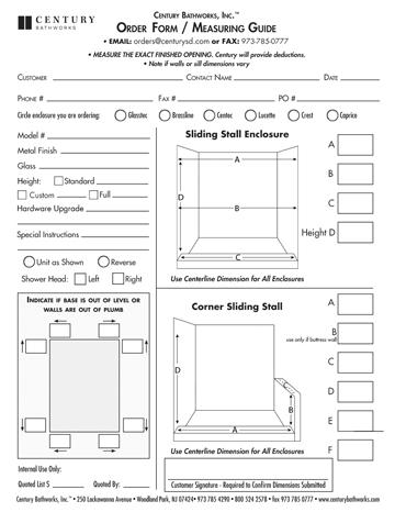 Measuring Guide: Sliding Stall Enclosure