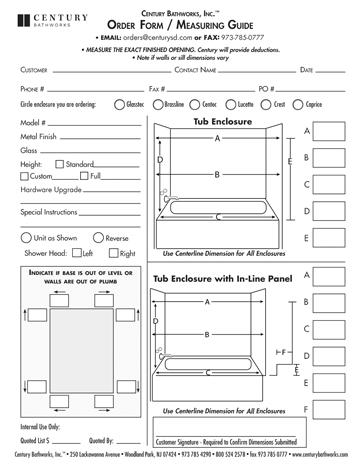 Measuring Guide: Tub Enclosures